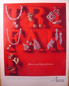 1965 Trifari Jewelry Christmas Print Ad Pins