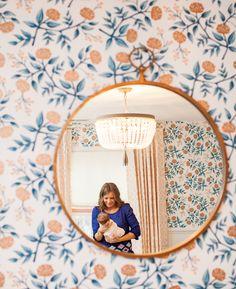 comfy cozy couture: rh baby & child chandelier, hygge & west rifle paper co. copper peonies, schumacher imperial trellis ii + samuel & sons pom pom trim