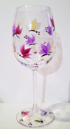 Beautiful Butterfly Hand Painted Wine Glass. $10.00, via Etsy.
