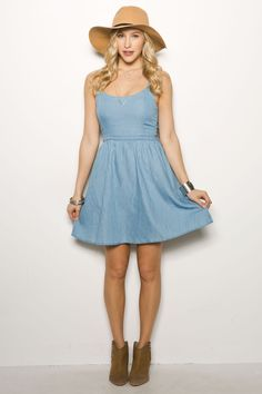 Girls Flare Denim Dress