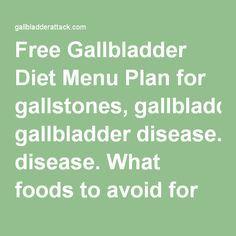 Free Gallbladder Diet Menu Plan for gallstones, gallbladder disease. What foods to avoid for gallbladder attack, gallbladder pain and after gallbladder surgery ....