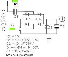 These are 12V DC power supply circuit which designed without transformer (trafo). The circuit draws about 30ma AC. Use for small electronic application only