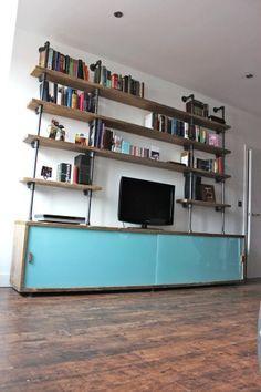 Reclaimed Scaffolding Board Storage Unit with - bespoke furniture, home storage organization