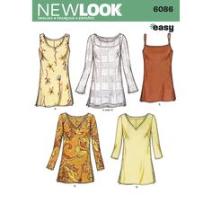 Misses tunic tops, New Look pattern.
