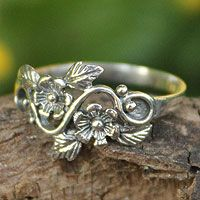 Sterling silver flower ring, 'Siam Bouquet' $21.99