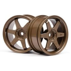 """HPI 3843 TE37 Wheel 26mm Bronze 3mm Offset (2) by HPI Racing. $6.51. These are the HPI 26mm Bronze 6-Spoke 3mm Offset Wheels.FEATURES: Strong nylon construction, bronze in color 6-Spoke Design 3mm Offset 12mm Hex Type Wheel MountingINCLUDES: Two 6-Spoke 26mm WheelsREQUIRES: Tires Foam Inserts Glue DTXR2000, DTXR2002SPECS: Outer Diameter: 1.9"""" (48mm) Width: 1.0"""" (26mm) Offset: 0.1"""" (3mm)HPIPart HPI3843"""