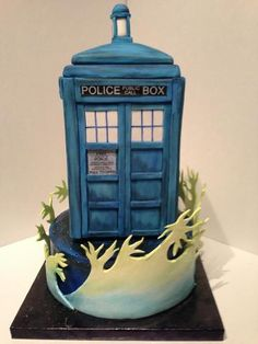 Alexis's 18th B-Day Cake. Dr. Who Tardis made by Chelle Baldwin of C's Sweets in Nashville, TN.