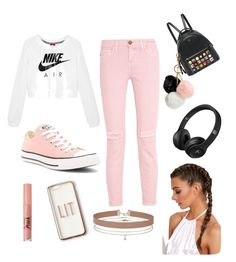 """""""Pinky"""" by thecuteoutffit on Polyvore featuring Fendi, NIKE, Current/Elliott, Converse, GUESS, Missguided, Too Faced Cosmetics and Miss Selfridge"""