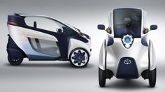 Toyota's i-ROAD is a fully-enclosed, tandem two-seater, three-wheeled, fully-electric, Personal Mobility Vehicle (PMV).