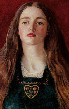 John Everett Millais  (English, 1829-1896)  Portrait of a Girl (Sophie Gray), 1857  Oil on paper