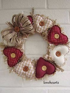 Prim Fabric Hearts With Buttons Wreath Valentine Wreath, Valentine Day Crafts, Valentine Decorations, Holiday Crafts, Christmas Decorations, Printable Valentine, Homemade Valentines, Valentine Box, Valentine Ideas