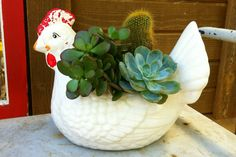 Vintage Chicken Planter! Pretty sure I need one of these. Yep, I do.