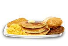 OMG! Take a pass on McDonald's Big Breakfast with Hot Cakes. It'll weigh you down with 1,090 calories, 56 g fat, and 19 g saturated fat -- close to the daily limit for this unhealthy fat. Even the biscuit is loaded with saturated fat, topping even the sausage patty or eggs. The sodium hits 2,150 mg, nearly the daily limit.