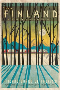 The perfect gift for the world traveler. Finland forest travel poster, featurin… The perfect gift for the world traveler. Finland forest travel poster, featuring the Pendolino rail. By artist Missy Ames City Poster, Poster Art, Kunst Poster, Art Deco Posters, Cool Posters, Retro Posters, Print Poster, Illustrations Vintage, Illustrations And Posters