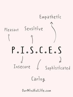 P.I.S.C.E.S: Pleasant. Insecure. Sensitive. Caring. Empathetic. Sophisticated -Relatable Pisces quotes and sayings - OurMindfulLife.com Zodiac Signs Astrology, Zodiac Sign Facts, Pisces Personality Traits, How To Read People, Pisces Quotes, Last Kiss, Perfect Relationship, Meeting Someone