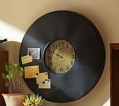 Shop industrial chalkboard wall clock from Pottery Barn. Our furniture, home decor and accessories collections feature industrial chalkboard wall clock in quality materials and classic styles. Mantel Clocks, Clock Decor, Wall Decor, Rustic Clocks, Antique Clocks, Wall Clock Pottery Barn, Clock Wall, Kitchen Organization Wall, Office Organization