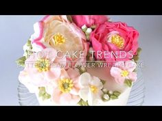 HOT CAKE TRENDS Buttercream peony and poppy flower wreath cake - YouTube