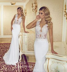 Eye-catching Pearls Wedding Dresses Mermaid Trumpet V Neck Mermaid Wedding Dresses | Buy Wholesale On Line Direct from China