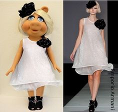 Looks GREAT on Miss Piggy, but not on her much slimmer dress-alike.