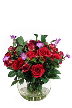 Red Roses with mixed greens arrangement Silk Floral Arrangements, Red Roses, Glass Vase, Plants, Home Decor, Silk Flower Arrangements, Decoration Home, Room Decor, Planters