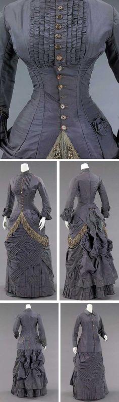 Metropolitan Museum 19th century Fashion   ... , American, 1878-1882. Silk, abalone. Metropolitan Museum of Art