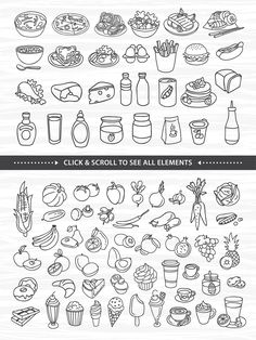 76 hand drawn food elements by Redchocolate on Small Drawings, Doodle Drawings, Easy Drawings, Small Doodle, Easy Doodle Art, Food Drawing Easy, Sketch Note, Hand Lettering Alphabet, Calligraphy Letters