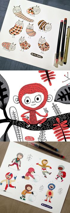 Elise Gravel illustration • prints • drawings • creatures • monsters • monkey • art • children • kids • snow • winter • cute • watercolor