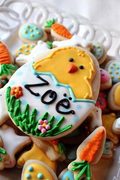 Personalized Easter Chick Vanilla Sugar Cookie w/ a Dozen Mini Easter Cookie NIbbles on Etsy, $10.00