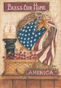 Custom Decor Flag - Patriotic Bless Our Home Decorative Flag at Garden House Fla