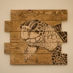 Large wood sea turtle painting, Outdoor Lake house decor, Decor for Ocean Lover Sea turtle decor Sea turtle wall art Lake house by SimplyPallets Wood Burning Crafts, Wood Burning Patterns, Wood Burning Art, Wood Crafts, Diy Pallet Projects, Wood Projects, Pallet Ideas, Art Plage, Sea Turtle Decor
