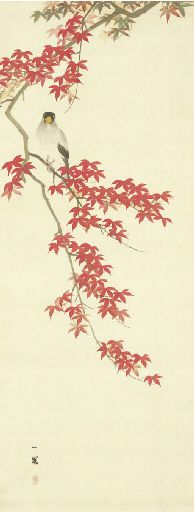 Mori Ippo (1798-1871) | Autumn maples and Japanese grosbeak
