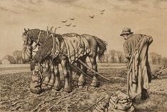 Stanley Anderson (British, 1884-1966) Farmer and Plough Horses signed and inscribed 'ed=65' in pencil (in the margin) etching 17cm x 26.5cm. Sold for £400