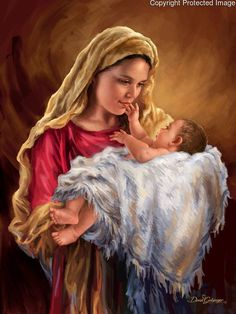 Mother Mary and her baby Jesus.