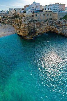 Polignano a Mare, Puglia, Italy - love the aqua colored sea www.traveloverseasnow.com