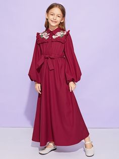 Girls Frill Trim Appliques Belted Dress -SheIn(Sheinside)