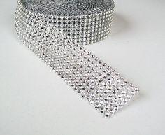 Diamond Rhinestone Ribbon - Silver Rhinestone wrap - party decorations - 1 yd on Etsy, $1.50