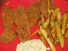 Healthy homemade chicken tenders with fries....freeze for a healthy quick meal for ur toddler.