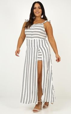 Thinking Bout You Maxi Dress In White Stripe Maxi Playsuit, Cute Maxi Dress, Wide Brimmed Hats, Strapless Maxi, Long Torso, Lace Up Flats, White Dress, Dresses, Fashion