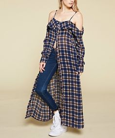 Take a look at this Navy Plaid Off-Shoulder Duster today!