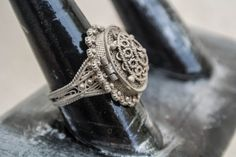 Antique vinaigrette ring/vintage vinaigrette/1800s vinaigrette/poison ring/silver vinaigrette ring. $200.00, via Etsy.