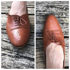 Vintage 20s Inspired Shoes | Brown Leather Loafers | Neiman Marcus Tan Oxford Lace Ups | Skinny Jean Shoes | Boho Shoes | Hipster 20s Style by VintageBobbieMaude on Etsy