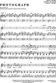 Photograph (Klavier + Gesang) Ed Sheeran [PDF Noten] >>> KLICK auf die Noten um Reinzuhören <<< Noten und Playback zum Download für verschiedene Instrumente bei notendownload Blockflöte, Querflöte, Gesang, Keyboard, Klavier, Klarinette, Saxophon, Trompete, Posaune, Violine, Violoncello, E-Bass, und andere ...