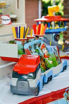 How to use Paw Patrol toys to decorate the food table at a Paw Patrol themed birthday party