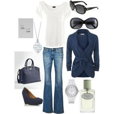 dinner & movie date (my first outfit on polyvore) - Click image to find more Women's Apparel Pinterest pins