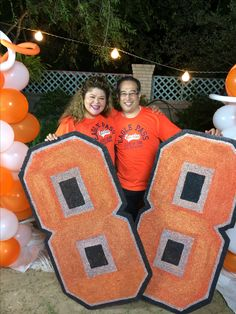 Giant graduation year props for decoration and photos at your high school reunion.