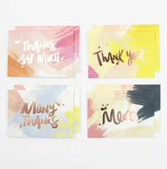 'thank you' brushstrokes cards pack of eight by taab london   notonthehighstreet.com