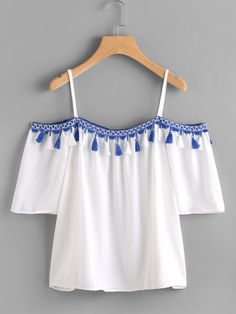 SheIn offers Open Shoulder Taped Embroidered Tassel Trim Top & more to fit your fashionable needs. Crop Top Outfits, Cute Casual Outfits, Pretty Outfits, Summer Outfits, Teen Fashion Outfits, Girl Outfits, Fancy Tops, Fancy Crop Top, Indian Gowns Dresses