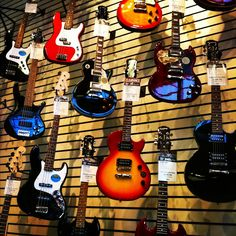Guitar wall at store. Guitar Store, Guitar Wall, Vintage Guitars, Rock And Roll, Porn, Photos, Pictures, Rock Roll, Rock N Roll