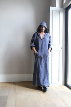 Blue pinstriped mens Kaftan. Pure wrinkled linen mens tunic. Contemporary design hooded caftan.