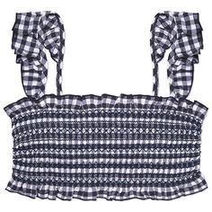 Tory Burch Gingham Costa Ruffle Top (420 PEN) ❤ liked on Polyvore featuring tops, sweaters, navy blue, ruffle bandeau top, long tops, gingham top, smock top and retro sweaters